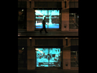 Downtown Mirroris an award-winning piece of public art that JD Beltran and I did for the City of San Jose.  It consisted of a number of projected urban portraits in storefronts of the downtown area.  For a couple of weeks, the storefront displays were augmented by a huge panoramic video on the side of a building along Fountain Alley, showing dramatic views of planes taking off and landing at Mineta Airport. An audio spotlight created a sweet spot for viewers to also hear the low-flying planes, which are typically an integral part of the downtown San Jose experience.