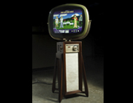 This is a modern computer and display artfully shoehorned into a 1958 and 1959 Philco Predicta.  We (I was wearing my Onomy Labs hat) have done several of these over the years, for a client who wanted to show off an embedded product in an unusual way.  The Continental and Pedestal models have both played host to this contemporary hardware.  The monitor is a flatscreen LCD with an ovalized mask which wastes a few pixels but makes the result look so very much nicer.
